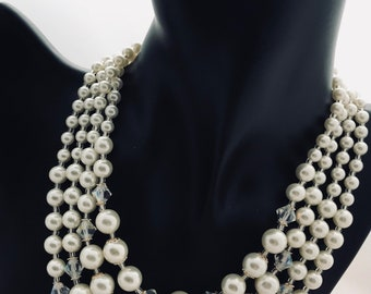 1960's 4 Strand Faux Pearl Necklace