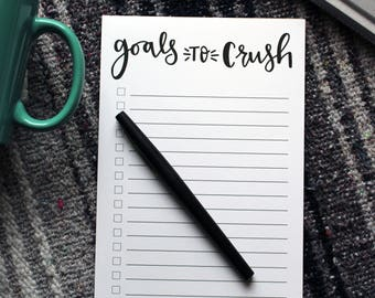 Goals to Crush Notepad | Note pads, Goal Planner, Notepads, To Do List, Task Pad, To-Do List, Notepad, Planning
