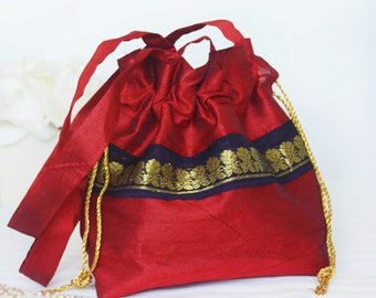 Red silk drawstring pouch