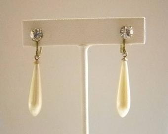 Vintage Long Tear Drop Pearl Clear Crystal Screw Back Earrings