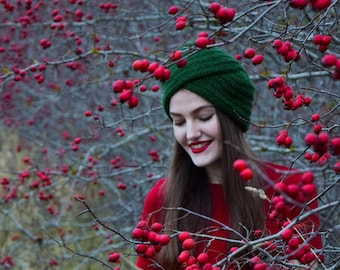 Green twisted beanie - knitted hat - turban hat - knitted turban
