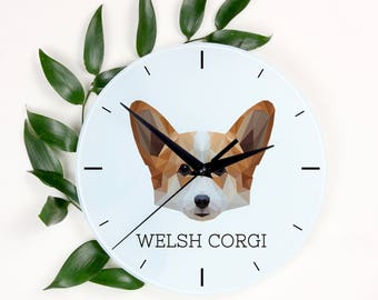 A clock with a Pembroke Welsh Corgi dog. A new collection with the geometric dog