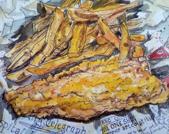 Fish & chips, original watercolour painting