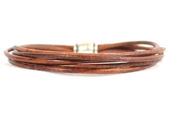 Multi-Strand Leather Boho Chic Bracelet in Distressed Brown - Made With Strands of 2mm Round Leather (2R-506)
