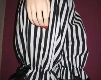 Sequoia Lolita Black White Striped lace Sissy Long Bloomers Pantalooms Lagenlook Gothic Rock Boho Festival