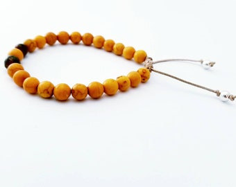 Handcrafted Yellow Leopard Jasper  Macramé Knotted Sterling Silver Bracelet