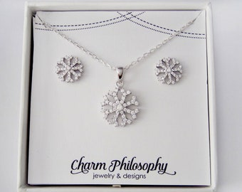 Snowflake Set - Snowflake Necklace - Snowflake Stud Earrings - 925 Sterling Silver Jewelry - Cubic Zirconia Jewelry - Snowflake Gifts