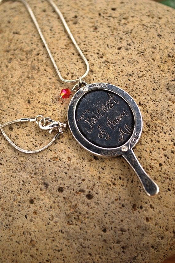 SALE Mirror Necklace, Fairest of Them All, Snow White, Evil Queen, Once Upon a Time Fairytale Necklace, Descendants Necklace, Hand Mirror