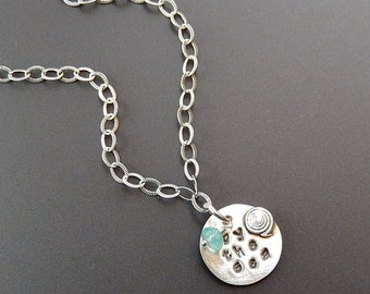 Sterling Necklace Tiny Minimalist By the Sea Round Pendant Sterling Silver with Marine Snail and Apatite Drop