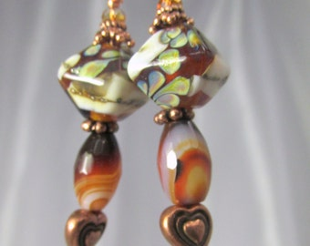 Lampwork Glass and Faceted Dark Red Brown White Agate Copper Heart Earrings