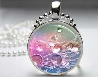 Splash Pastel Colours Nature - Round Pendant Necklace with Silver Ball or Snake Chain Necklace or Key Ring