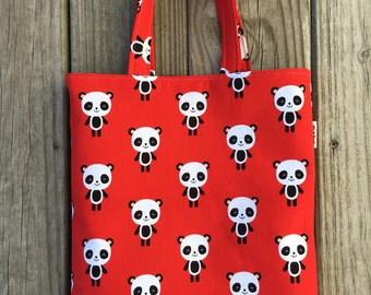 Pandas Tote Bag, Mini Tote Bag, Girls Bag, Toddler Tote Bag, Girls Tote Bag, Panda Purse