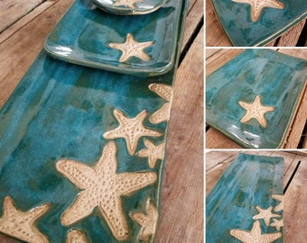 Turquoise starfish platter. Handmade pottery serving tray.