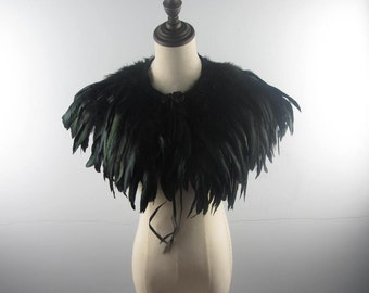 2A Burlesque Two  layer Black rooster coque feather Collar Shrug Cape  AA quality