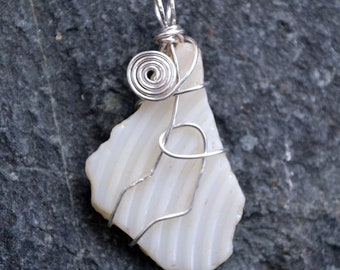 FREE SHIPPING sea glass, milk glass, silver wire wrapped, pendant, necklace