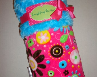 Fun Flowers Minky Baby Blanket - Ready To Ship