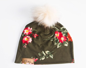 Hat Green red flowers NO doubled with or without pompom - baby children adulte