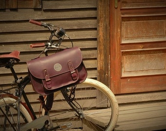 leather messenger backpack office bag Ladybuq plum