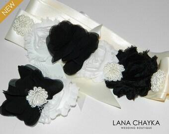 Black White Sash&Hair Clip Set Flower Girl Rustic Sash and Clip Set Floral Girls Belt Hair Clip Set Black White Ivory Sash Hair Clip Set