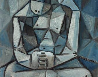 Mediation(Cubism Series), Handmade Oil Painting on canvas By Nattawat Pansaing