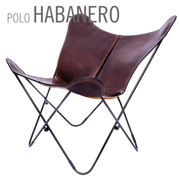 100 handcrafted original butterfly chair polo leather with. Black Bedroom Furniture Sets. Home Design Ideas