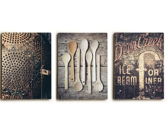 Wood Sign Set: Farmhouse Kitchen Decor - Ready to Hang Wood Plank Art - Rustic Kitchen Wall Art - Country Kitchen Decor - Wood Kitchen Sign.
