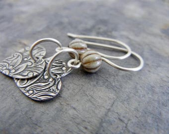 Silver Heart Earrings - Sterling Silver Earrings - Valentine's Day Earrings - Everyday Earrings