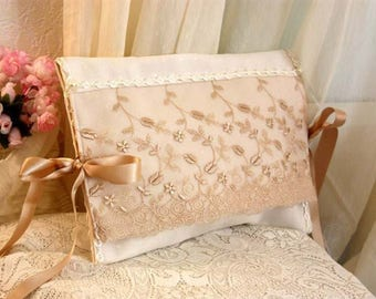 romantic ivory reps and light taupe embroidered tulle pouch
