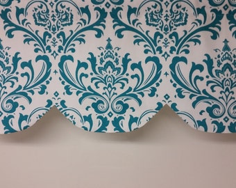 RTS Lined scallop valance, turquoise blue and white traditions damask