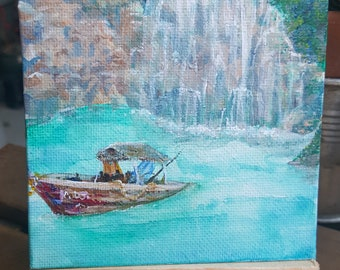 Thai Boat Waterfall Painting