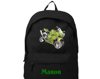 Backpack black bike personalized with name