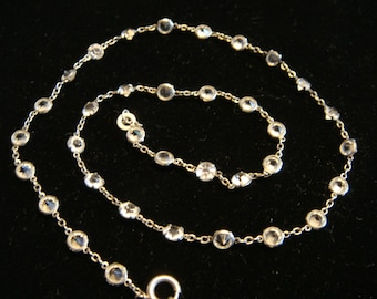 1920's Platinon Openback Crystal Necklace, 16.5 Inches