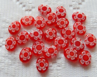 23  Bright Red White Flower Oval Flat Millefiori Flower Lampwork Glass Beads  9mm x 8mm