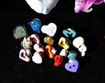 Mixed Heart Thumbtacks Pushpins, Valentine Mixed Heart Button Tacks, Valentines Day Gift, Gift For Him