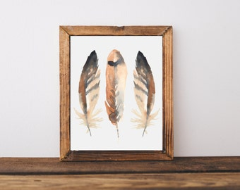 Feathers art print, feathers wall decor, rustic home decor, country home decor, bird wall art, baby nursery decor, A-1147