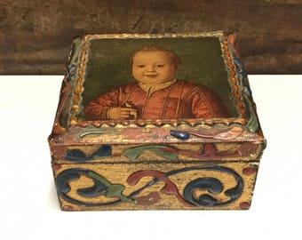 Vintage Victorian Florentine Box, Italian Florentine Box, Gold Gilt Box, Victorian Boy with Bird, Victorian Keepsake Box, Florentine Box