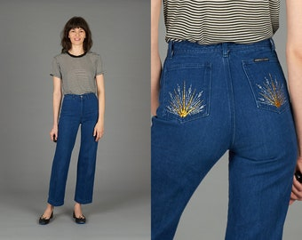 70s Cropped Embroidered Jeans