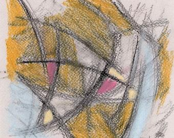 Abstract Art Print - mixed media, blue, yellow, pink, black