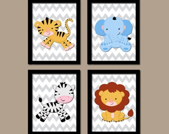 Jungle Animals Wall Art, Baby Boy Nursery Decor, Safari Animals, Jungle Animals Chevron, Safari Theme, CANVAS or Prints, Set of 4 Wall Decor