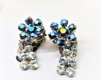 Rhinestone Earrings - Vintage, Silver Tone, Blue Aurora Borealis, Clear Rhinestones, Clip on