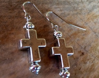 Tibetan Silver Cross Earrings