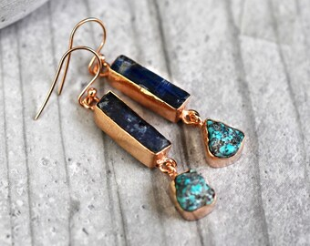 925/18k rose gold earrings kyanite & turquoise