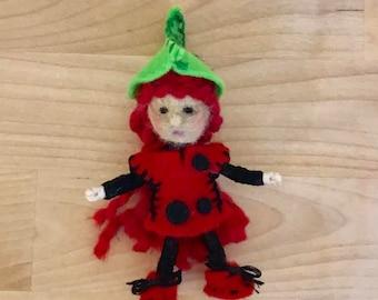 Ladybug Bendy Doll, Felt Fairy, Dollhouse Fairy, OOAK, Handmade, Waldorf fairy, Wee Folk, Woodland Fairy, Elf, Felt gnome