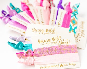Young Wild + Three Girls Birthday Party Favors | Boho Birthday Party Hair Tie Favors, Bohemian Feather Arrow Aztec Tribal Print Hair Ties