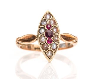 Victorian 1890s Marquise Garnet & Seed Pearl Pinched 9kt Rose Gold Ring, ATL #693