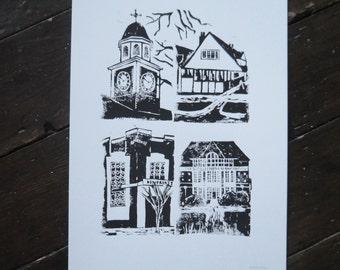 Letchworth Iconic Buildings A3 Original Linoprint