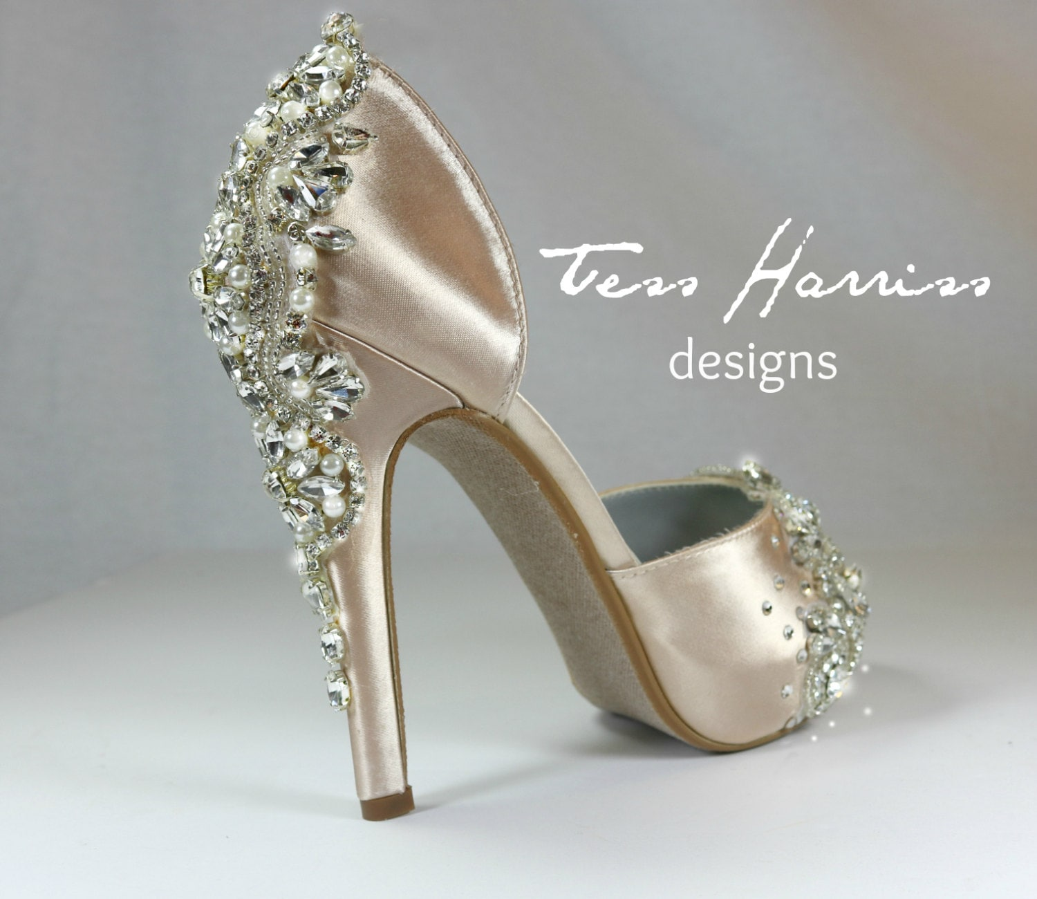 Sparkling Champagne Wedding Shoes .. Champagne Bridal Shoes .