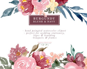 Burgundy Blush Navy Floral Wreath Clipart, Watercolor Wedding Invitation Clipart, Digital Borders, Bouquet for Logo Branding, Winter Clipart