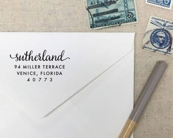 Calligraphy Return Address Stamp. Personalized Self-Inking Stamp. Wooden Mailing Stamp. Custom Address Stamp. STYLE 75. Family Gift Idea.