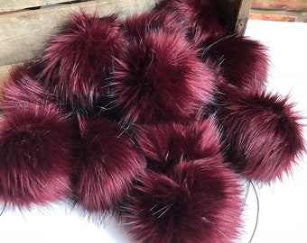 Claret Faux Fur Pom Poms Limited Edition Burgundy Maroon Silky Long Pile Plush Handmade Vegan Cruely Free for Toques Beanies Hats